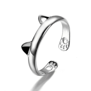 可愛創意貓耳腳印指環