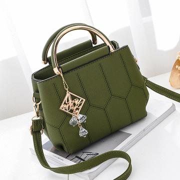 韓版格紋繡線側背手提包