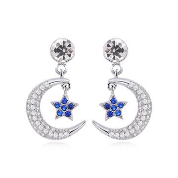 耀眼月亮藍星鑲鑽 耳針/黏式耳環
