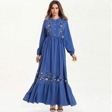 穆斯林花朵刺繡荷葉大擺連身裙