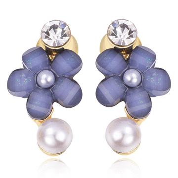 氣質鑲鑽珍珠花朵 無耳洞黏貼式耳環