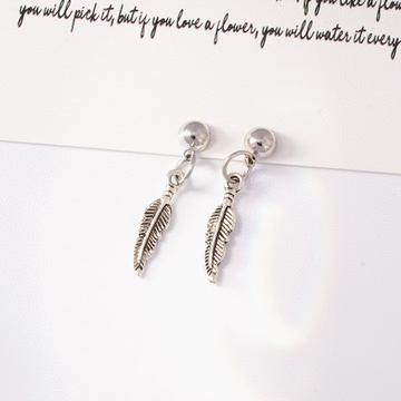 韓版精緻合金小樹葉 耳針/無耳洞黏貼式耳環