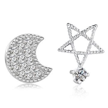 精巧可愛不對稱月亮小星星鋯鑽 耳針/黏式耳環