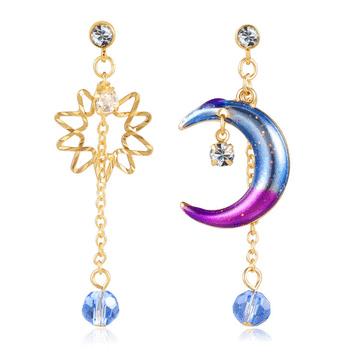 日系炫彩星星月亮 耳針/黏式耳環