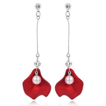 一字珍珠玫瑰花瓣 耳針/無耳洞黏貼式耳環