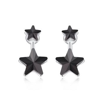 優雅亮黑五角星星 耳針/黏式耳環