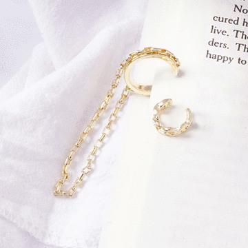 韓流個性金屬鍊條耳骨夾