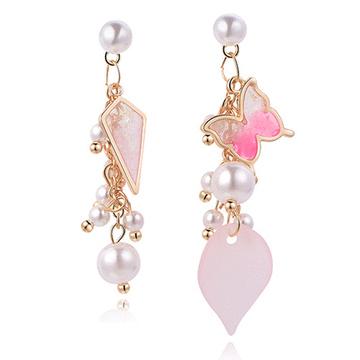 耀眼蝴蝶珍珠亮片 無耳洞黏貼式耳環