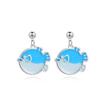 清新透明粉嫩小魚 耳針/黏式耳環