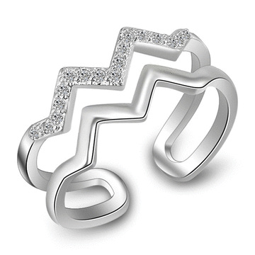 雙層波浪幾何鑲鑽開口戒指