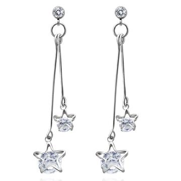 復古浪漫雙星亮鑽 耳針/無耳洞黏貼式耳環