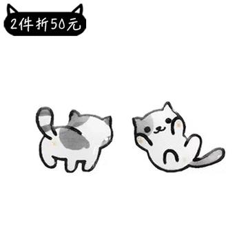 【2件折50元】可愛萌寵小貓不對稱黏式耳環