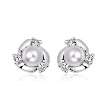 奢華高雅珍珠水鑽 耳針/黏式耳環