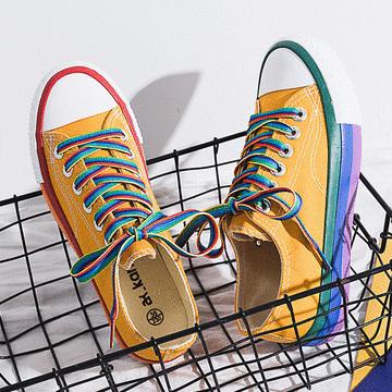 潮流個性彩虹配色帆布鞋