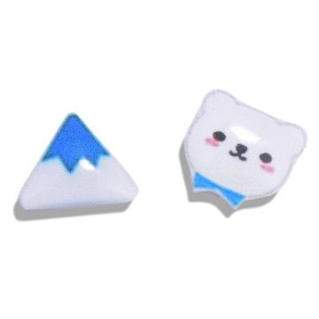 【限時199元】冰山與小熊熱縮片 無耳洞黏貼式耳環
