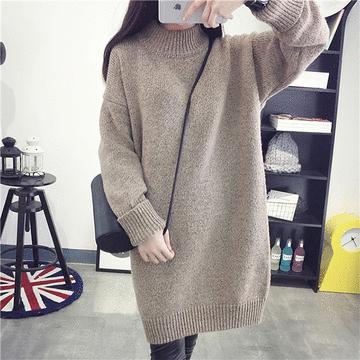 長版圓領純色針織毛衣