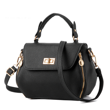 韓版簡約定型拉鏈手提包