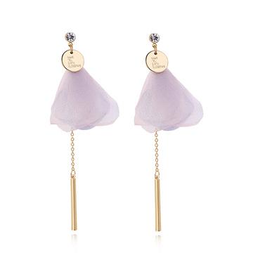 粉嫩花瓣直條金屬流蘇 耳針/黏式耳環