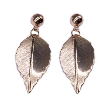 清新唯美森林系小樹葉黏式耳環