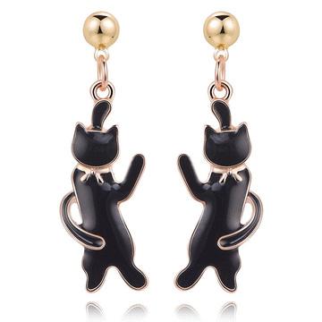 可愛緞帶黑色小貓 無耳洞黏貼式耳環