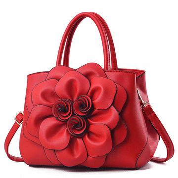 優雅大氣立體花朵側背手提包