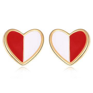 個性迷你拼色愛心 無耳洞黏貼式耳環