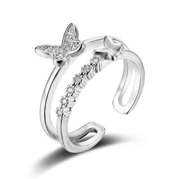 翩翩氣質蝴蝶亮鑽開口戒指
