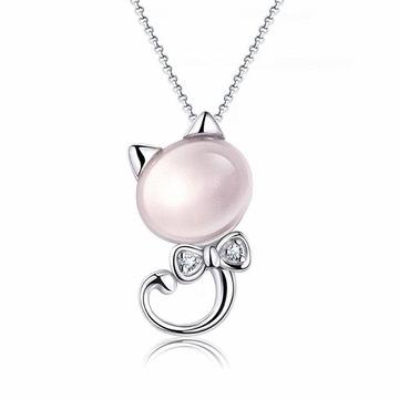可愛小貓咪鑲鑽貓眼石項鍊
