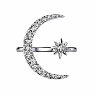 月牙星星鑲鑽指環