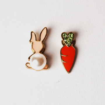 兔子與胡蘿蔔不對稱 耳針/黏式耳環