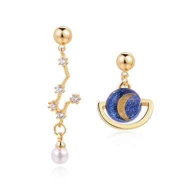 【專區3件★85折】北斗星與行星月亮 耳針/黏式耳環
