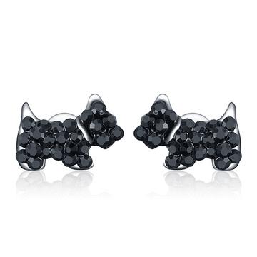 個性可愛狗狗 耳針/黏式耳環