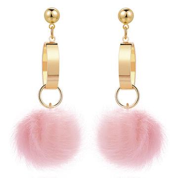 甜美糖果色圓環毛球 耳針/無耳洞黏貼式耳環