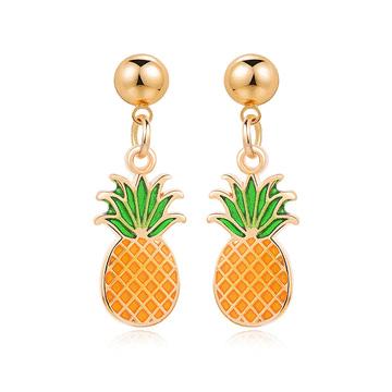 熱帶清新水果鳳梨 黏式耳環