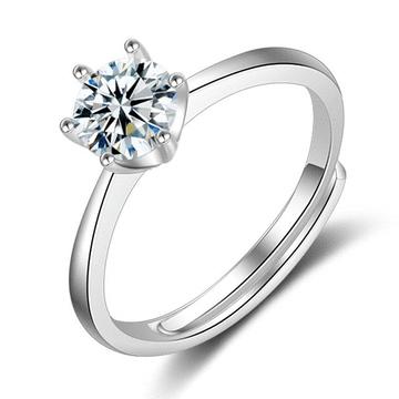 時尚簡約六爪亮鑽開口戒指(6mm)