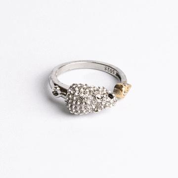 十二生肖鑲鑽合金開口戒指