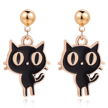 呆萌卡通大眼貓 無耳洞黏貼式耳環