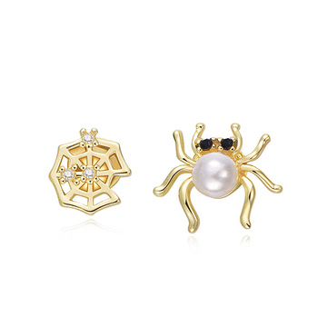 個性搞怪蜘蛛不對稱黏式耳環