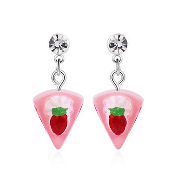 粉嫩草莓奶油蛋糕 黏式耳環