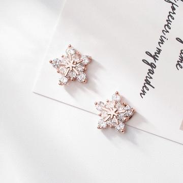 高雅氣質冷豔冰晶雪花鋯鑽 耳針/無耳洞黏貼式耳環