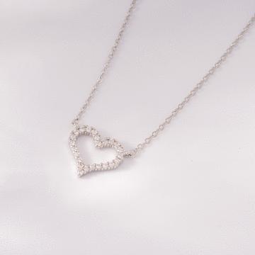 戀愛心型微鑲鑽合金項鍊