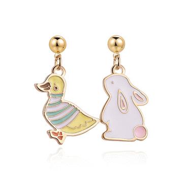萌趣小鴨與兔子 黏式耳環