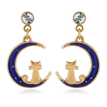 日系夢幻月亮小貓咪無黏式耳環
