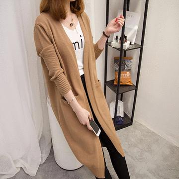 韓版長版純色寬鬆針織外套