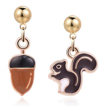 松鼠與栗子 耳針/無耳洞黏貼式耳環