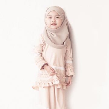 穆斯林純色雪紡兒童款方便套頭頭巾