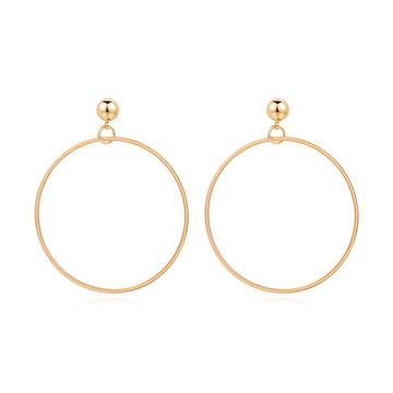 經典簡約金屬圓環 黏式耳環