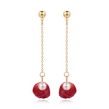珍珠乾燥玫瑰花瓣 耳針/無耳洞黏貼式耳環