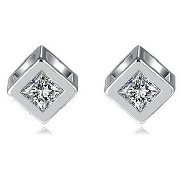 愛情魔幻幾何方形鋯鑽 耳針/無耳洞黏貼式耳環