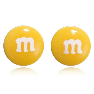仿真M字巧克力豆 無耳洞黏貼式耳環